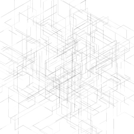 Illustration pour Abstract isometric computer generated 3D blueprint visualization lines background. Vector illustration for break through in technology. - image libre de droit