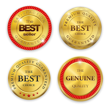 Illustration pour Set of round polished gold metal badges on white background. Best Seller. The Best Quality. Premium quality guaranteed. The Genuine Quality. Vector illustration. - image libre de droit