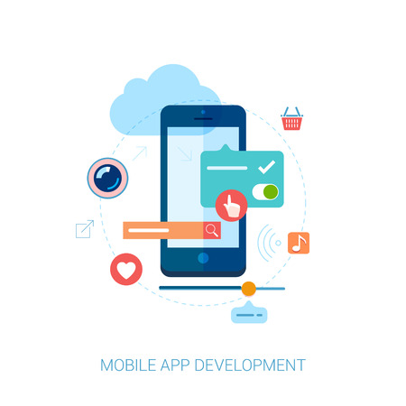 Illustration pour Set of modern flat design icons for mobile application development or smartphone app programming. Interface elements for mobile apps concepts. - image libre de droit