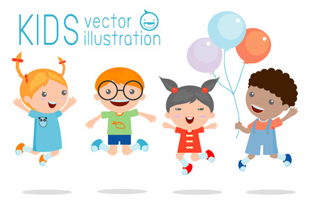 Ilustración de Kids jumping with joy , happy jumping kids, happy cartoon kids playing, Kids playing on white background , Vector illustration - Imagen libre de derechos