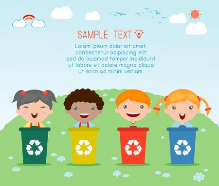 Ilustración de Illustration of Kids Segregating Trash, recycling trash, Save the World , Vector Illustration. - Imagen libre de derechos