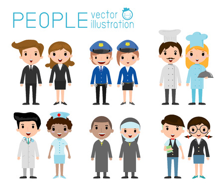 Set of diverse occupation people isolated on white background. Different nationalities and dress styles. people character cartoon concept.flat modern design