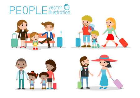 Illustration pour Set characters family travelers. people and kids travelling . Flat design. traveling family on vacation. - image libre de droit