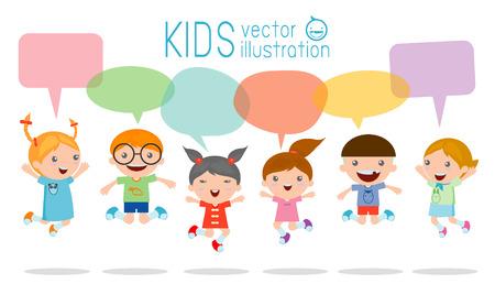 Illustration pour Cute kids with speech bubbles, stylish children jumping with speech bubble, children talking with speech balloon. Vector Illustration - image libre de droit