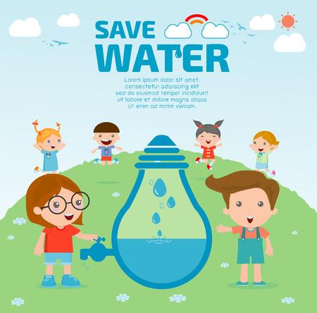 Illustration pour Kids for save water concept, Ecology Save The Water, Water conservation concept. Vector illustration - image libre de droit