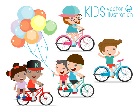 Illustrazione per Kids riding bikes,  Child riding bike, kids on bicycle vector on white background,Illustration of a group of kids biking on a white background, - Immagini Royalty Free