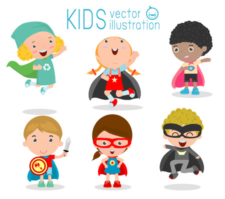Illustrazione per Kids With Superhero Costumes set, kids in Superhero costume characters isolated on white background, Cute little Superhero Children's collection, Superhero Children's, Superhero Kids. - Immagini Royalty Free