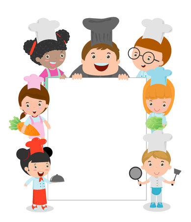 Illustration pour Kids Holding Cooking Surrounding a Blank Board, kids chef  peeping behind placard, kids chef Members Holding a Large Board, happy children, Cute little kids on white background,child in a chef's hat. - image libre de droit