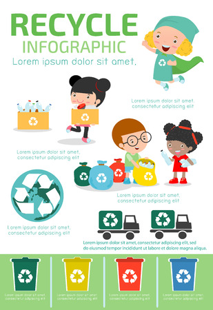 Illustration for Recycle Infographic, collect rubbish for recycling,Save the World , Boy and girl recycling, Kids Segregating Trash, children and recycling, Illustration of people Segregating Trash. - Royalty Free Image