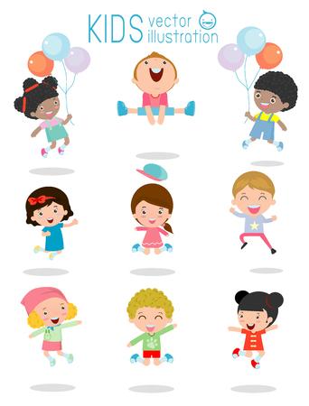 Illustration pour jumping kids, Multi-ethnic children jumping, Kids jumping with joy , happy jumping kids, happy cartoon child playing, Kids playing on white background , kids jamp,Vector illustration - image libre de droit
