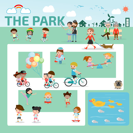 Illustration pour people in the park infographic elements flat design illustration vector - image libre de droit