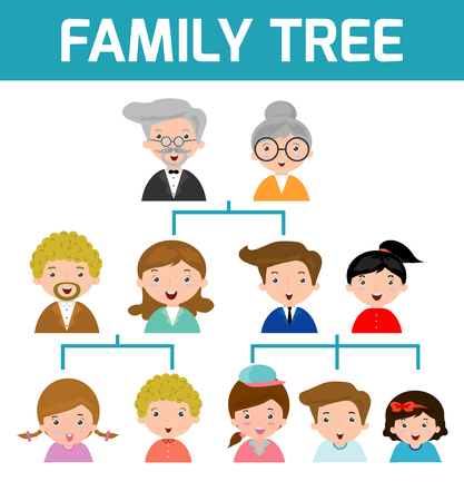 Illustration pour Family Tree, diagram of members on a genealogical tree, isolated on white background, Cartoon vector illustration of family tree, big famoly vector Illustration - image libre de droit