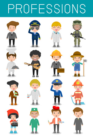 Illustration pour big set of cartoon vector characters of different professions isolated on white background, professions for kids, children profession, different people professions characters set, kids profession - image libre de droit