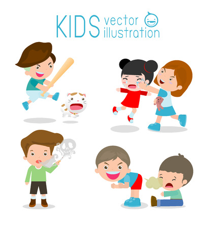 Illustrazione per Bad kids Behavior, bad boy, bad girl, The evil of child on white background. Vector Illustration - Immagini Royalty Free