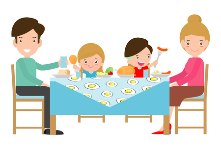 Illustration for family having meal together,Father, mother and son,daughter sit at the table  on white background,Vector illustration - Royalty Free Image