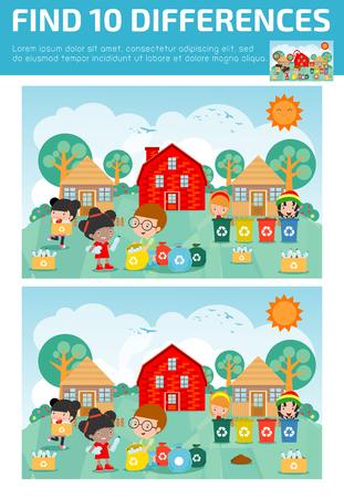 Ilustración de Find differences, game for kids, brain games, children game, Educational game for preschool children. Vector illustration. - Imagen libre de derechos