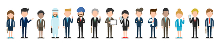 Illustrazione per Set of diverse business people isolated on white background. full body diverse business people.Different nationalities and dress styles.people character cartoon concept.flat modern design. - Immagini Royalty Free