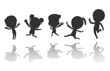 Ilustración de Group of black children silhouette jumping, Child silhouettes dancing, Kids silhouettes jumping on white background Vector illustration - Imagen libre de derechos