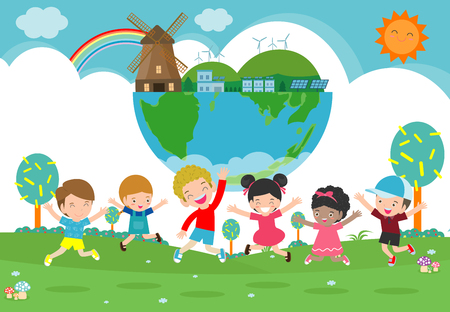 Ilustración de Kids for Saving Earth, save the world, save planet, ecology concept, cute kid cartoon character isolated on white background vector illustration - Imagen libre de derechos