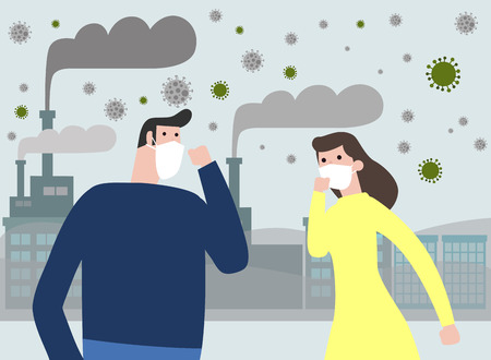 Illustration pour People in masks because of fine dust PM 2.5 , man and woman wearing mask against smog. Fine dust, air pollution, industrial smog protection concept flat style design vector illustration. - image libre de droit