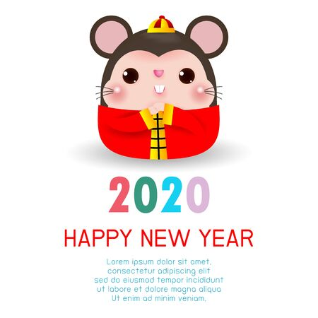 Ilustración de Happy New Year 2020. Chinese New Year. The year of the rat. Happy New Year greeting card with cute rat, background illustration Vector - Imagen libre de derechos