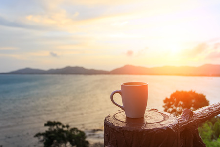 Photo for Coffee cup and sutset - Royalty Free Image