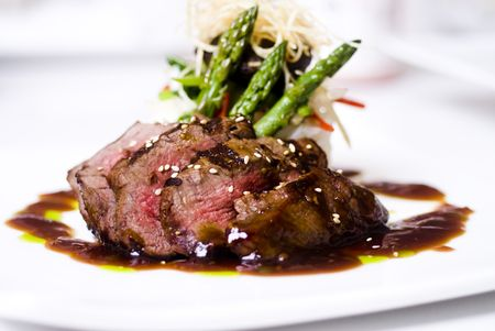 Photo for A gourmet fillet mignon steak at five star restaurant. - Royalty Free Image