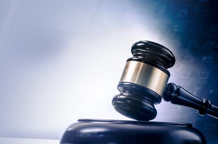 Photo pour Law legal concept photo of gavel on computer - image libre de droit