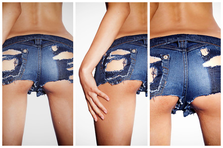 Sexy woman in tight denim shorts