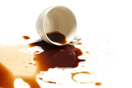 Photo pour coffee spill stain accident drop white background - image libre de droit