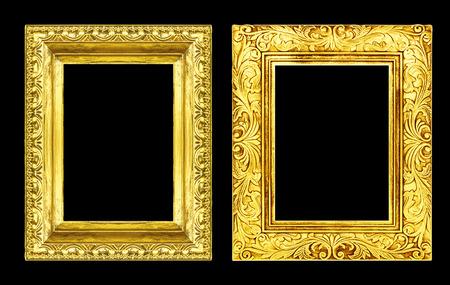Photo pour Set 2 antique golden frame isolated on black background, clipping path - image libre de droit