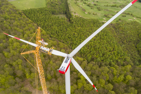 Photo for Aerial view of wind turbine under construction - Royalty Free Image