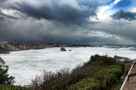 Photo pour Ocean storm weather with huge waves in Biarritz town, France - image libre de droit