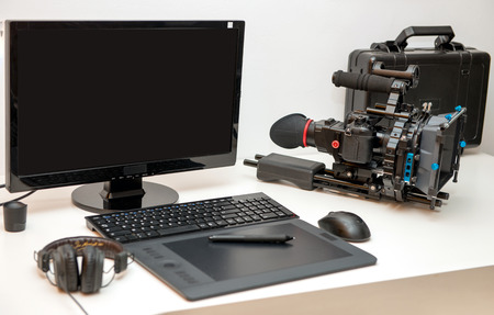 Photo for a camera, computer and tablet for video editing - Royalty Free Image