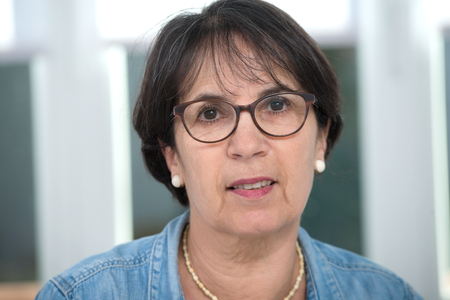 Foto de a portrait of middle age brunette with glasses - Imagen libre de derechos