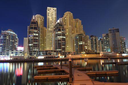 Dubai Marina Luxury Residence at night. Dubai, United Arab Emirates