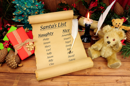 Photo for Santa's naughty and nice list on an old paper scroll with a festive background - Royalty Free Image