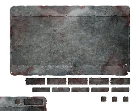 Foto de Set of damaged, rusted metal user interface elements, buttons and panels - Imagen libre de derechos