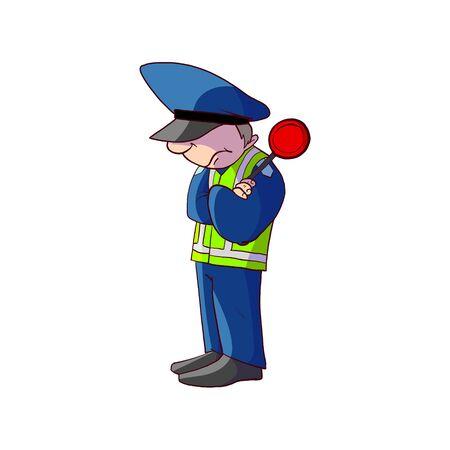 Illustration pour Colorful vector illustration of a cartoon traffic police officer - image libre de droit
