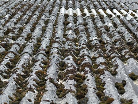 Foto de old asbestos roof tiles with moss ans repairs with vertical lines - Imagen libre de derechos