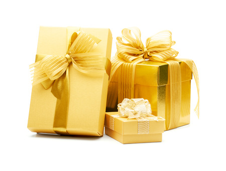 Photo for Golden gift boxes with ribbon on white background - Royalty Free Image