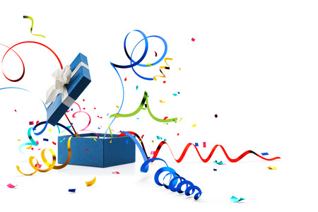 Foto de Ribbon and confetti popping out from blue gift box isolated on white - Imagen libre de derechos