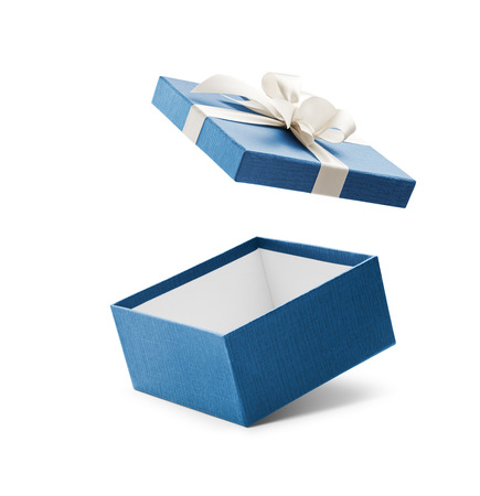 Foto de Blue open gift box with white bow isolated on white - Imagen libre de derechos