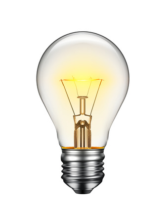 Foto de Glowing light bulb isolated on white background - Imagen libre de derechos
