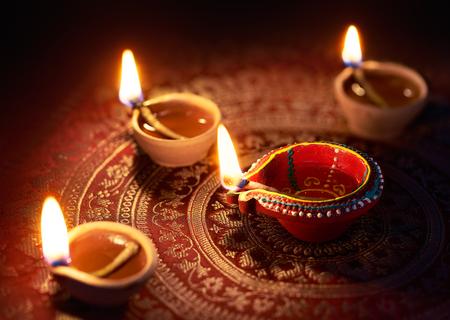 Photo for Happy Diwali - Diya lamps lit during diwali celebration - Royalty Free Image
