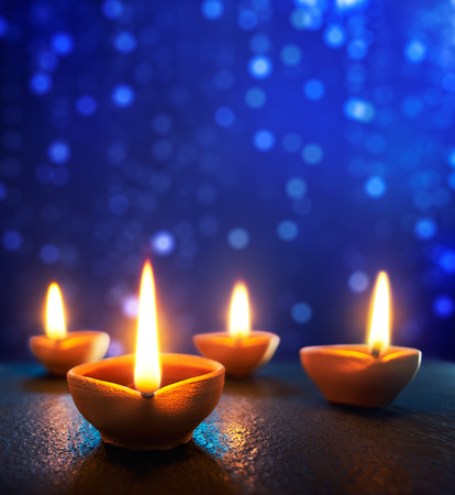 Photo pour Happy Diwali - Diya lamps lit during diwali celebration - image libre de droit