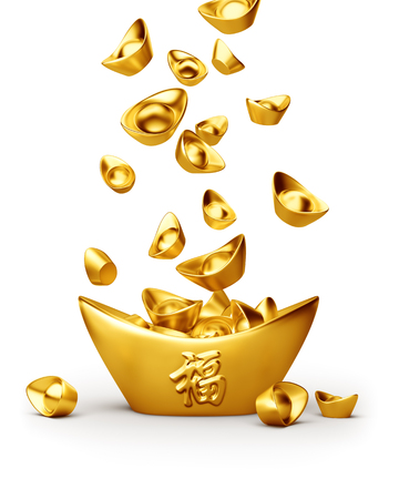 Photo pour Chinese gold sycee ( yuanbao ) isolated on white background - image libre de droit