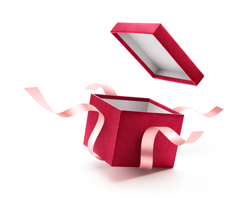 Foto de Red open gift box with ribbon isolated on white background - Imagen libre de derechos