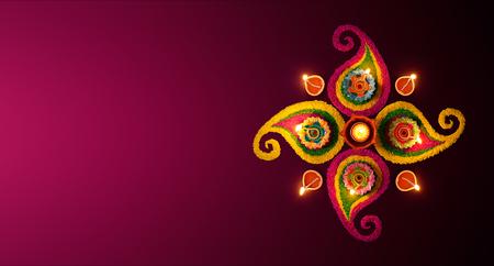 Photo for Diwali celebration - Diya oil lamps lit on colorful rangoli - Royalty Free Image