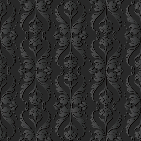 Ilustración de 3D dark paper art Curve Wave Cross Dot Line Leaf Flower, Vector stylish decoration pattern background for web banner greeting card design - Imagen libre de derechos